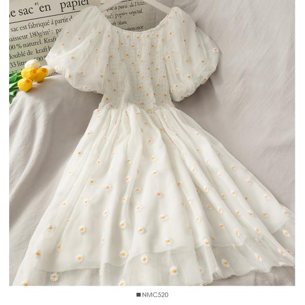 Ngọt Ngào Trẻ Trung Tươi Tắn Kiểu Gấp Bó Eo Tôn Dáng Tay Bồng Váy LướI Nữ Mẫu Mới Thêu Hoa Cúc Anh Cạp Cao Đầm