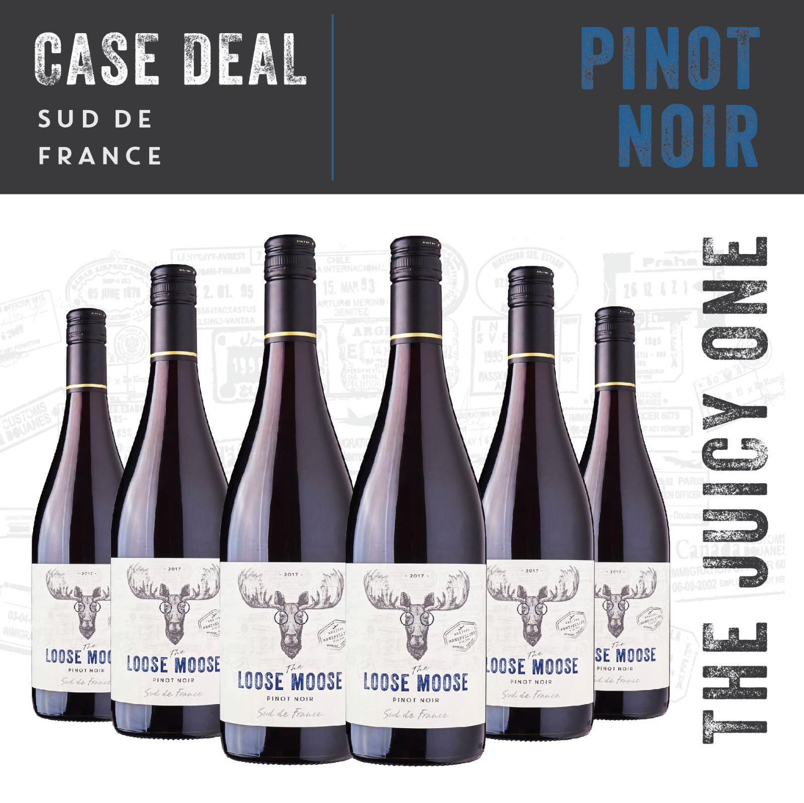 The Loose Moose Sud de France Pinot Noir Red Wine - Case