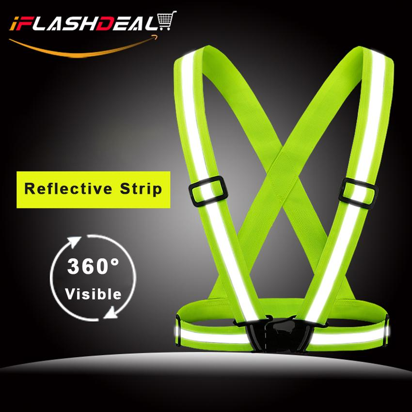 Iflashdeal Reflective Vest Elastic Safety Harness Security Jacket Strap V-Shape Strips High Visibility Adjustable Outdoor Nightrunning Cycling Motorcycle Rider Gear Orange & Green Color.