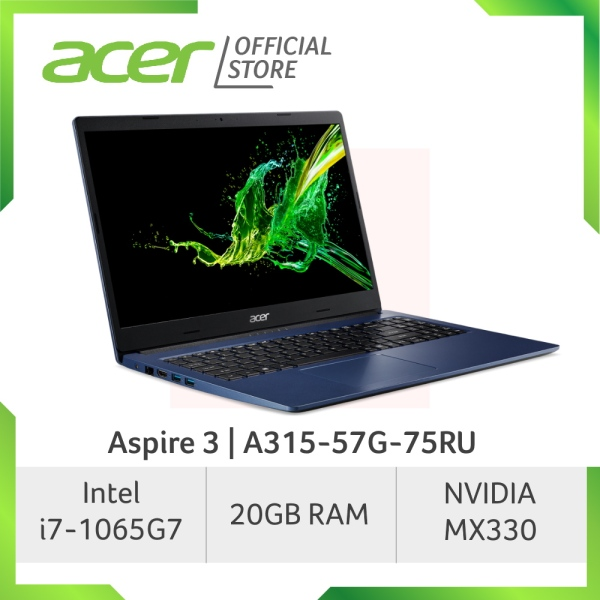 Acer Aspire 3 A315-57G-75RU Laptop with 10th Gen Intel Core i7-1065G7 processor and 20GB RAM
