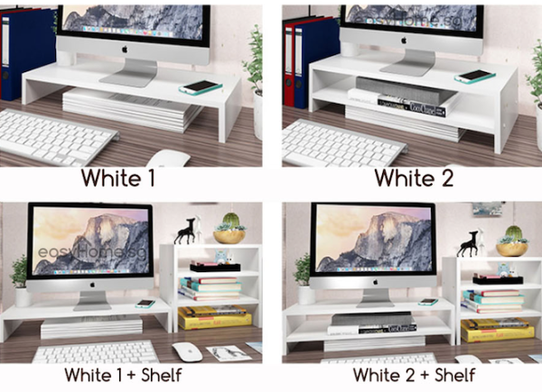 Monitor Stand D2 D4 - Home / Office Computer Desk Organizer Ergonomic