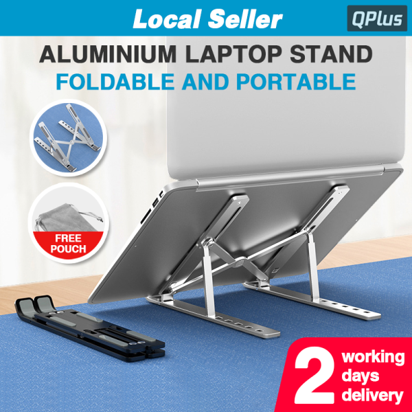 [SG] Anti-Slip Aluminium Laptop Stand with Free Pouch Foldable Portable Adjustable Height Cooling Notebook Holder