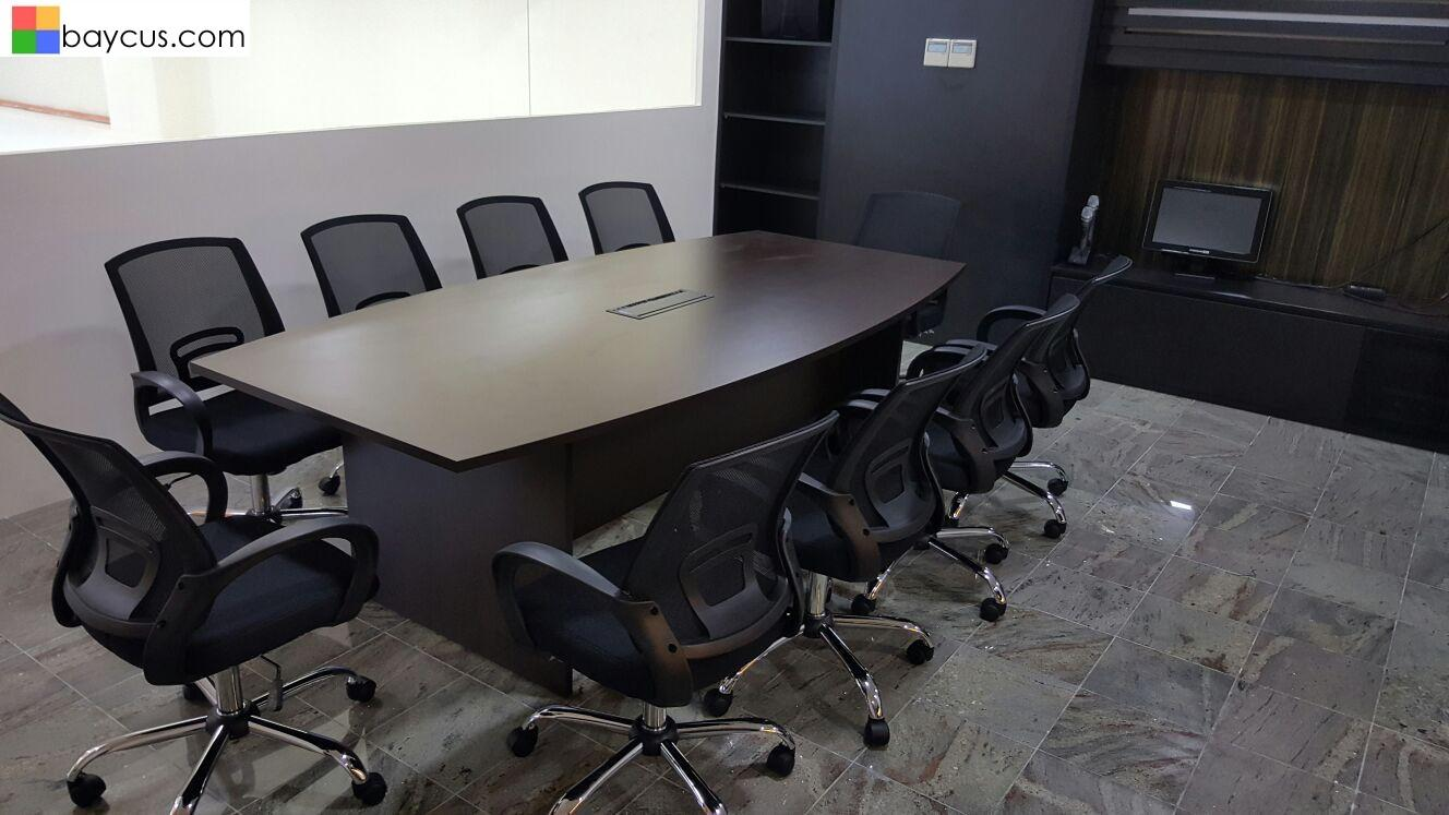 2.4m Boat Shaped Conference Table (Walnut)