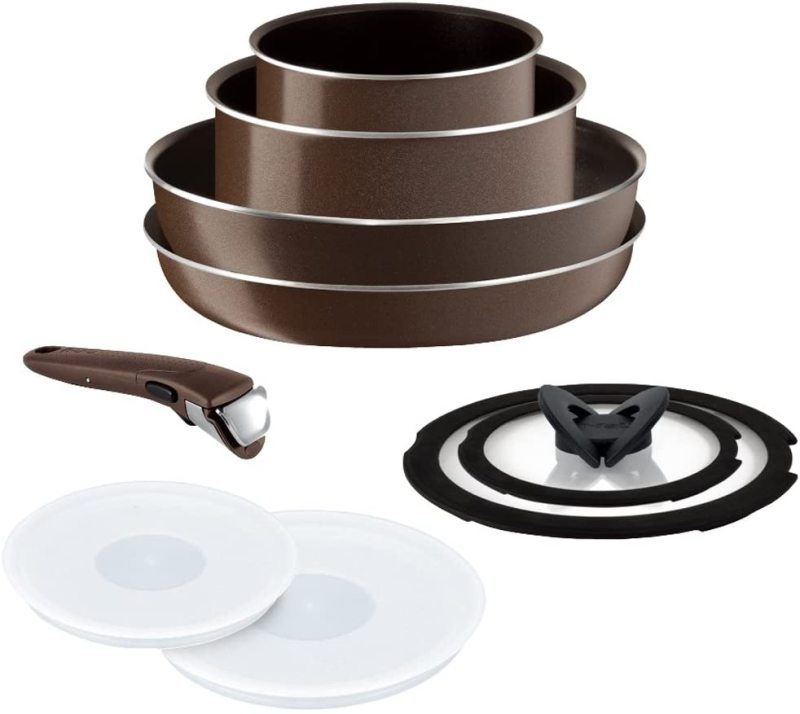 Tefal Premium Frypan 9 items Ingenio Neo Brown Color GAS STOVE only - 100% Authentic Singapore