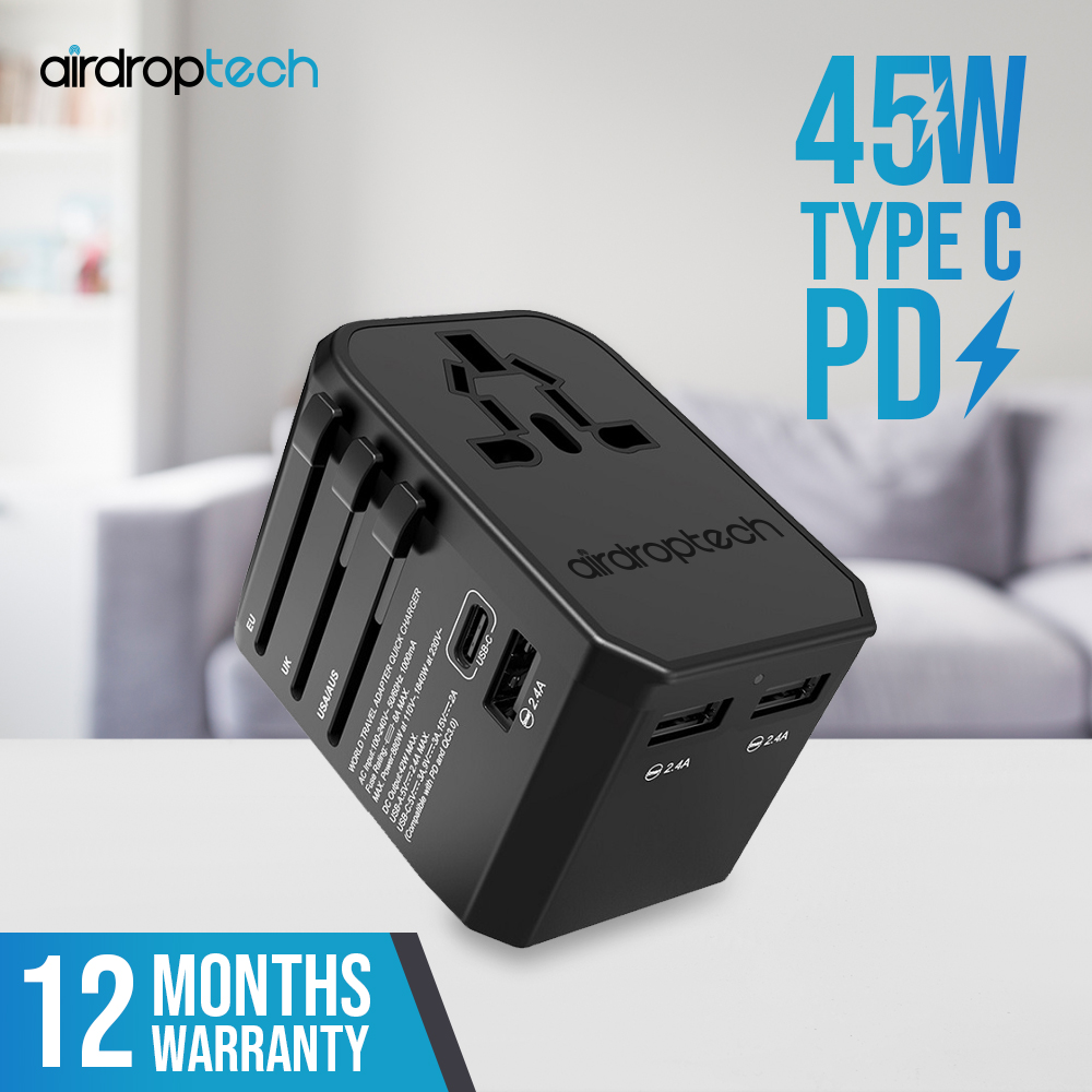 AIRDROPTECH 30W PD Type-C QC3.0 Port Universal Travel Adapter Gen 2 with 3 USB Wall Macbook Pro Air Charger Plug (Black)