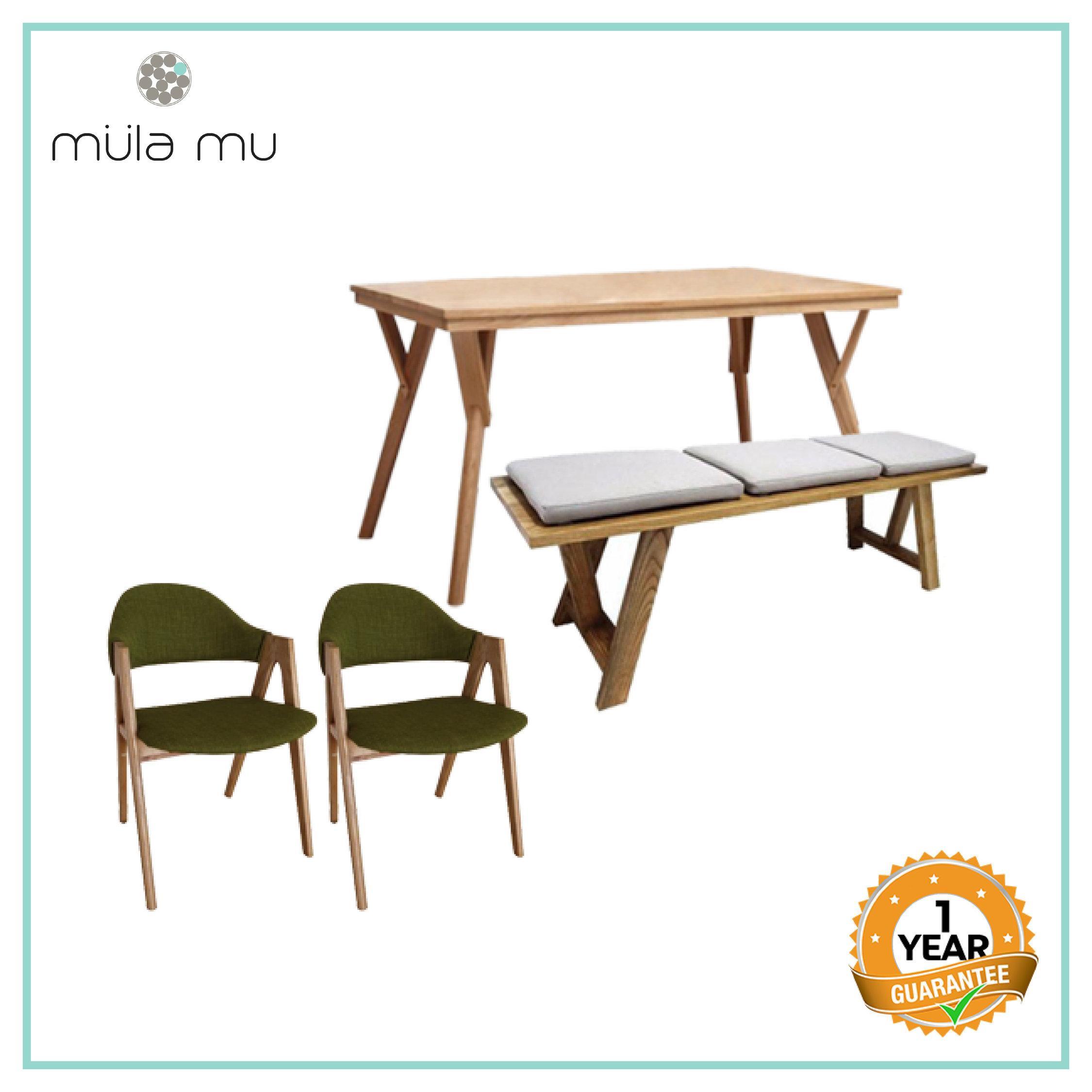 ÄRTISV TABLE + BENCH + 2PCS CHAIR