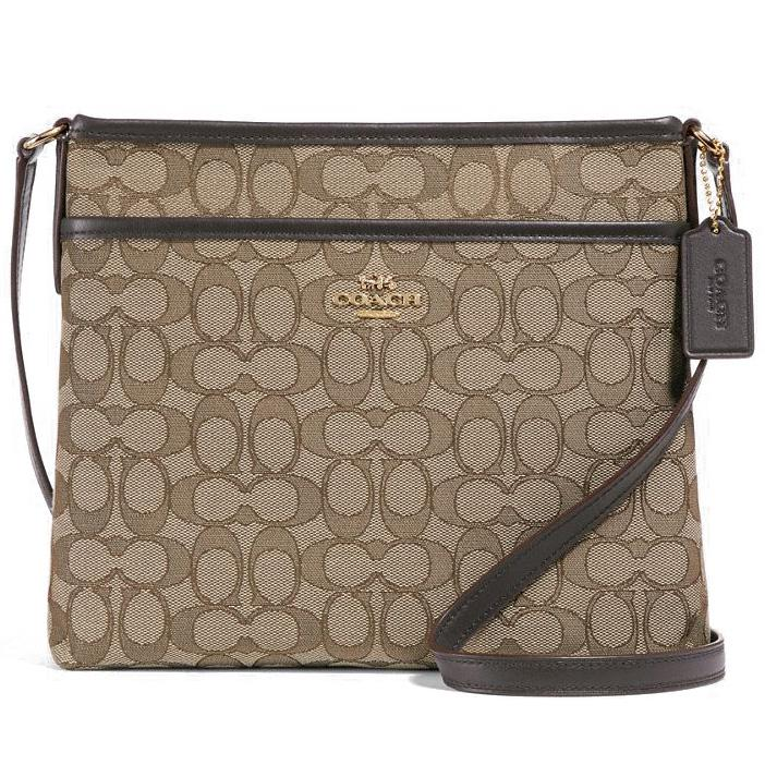 d6fc2597b2ac ... promo code for coach file crossbody in signature jacquard handbag khaki  brown gold f29960 gift 69274