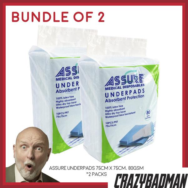 Buy [Bundle of 2] ASSURE Underpads 75cm x 75cm, 80g (10pcs/pack) Singapore