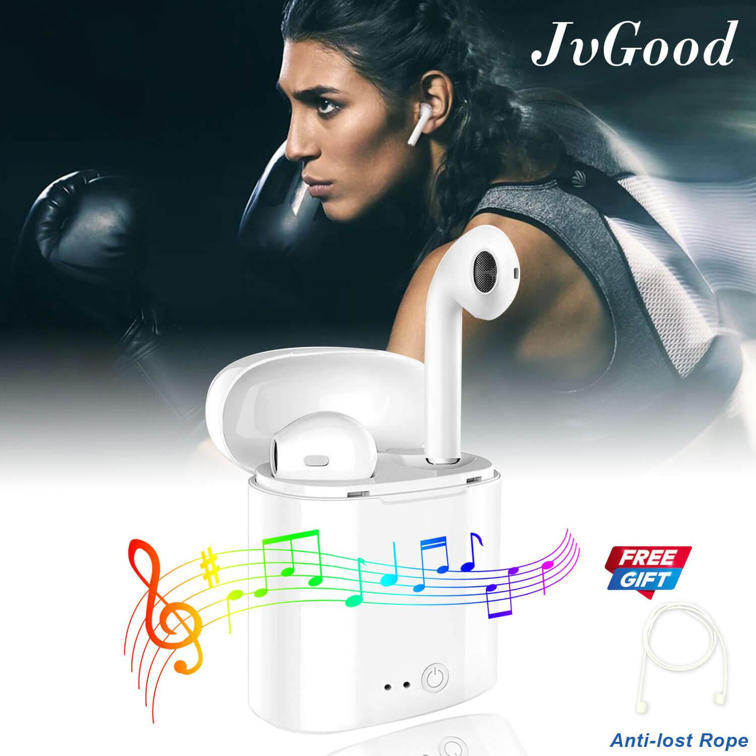 Jvgood Mini Bluetooth Wireless Earbuds In Ear Headphones Sweatproof Earphone Headsets Twins Stereo Earpiece Air Pods With Microphone With Free Anit-Lost Rope For All Mobile Phones By Jvgood.