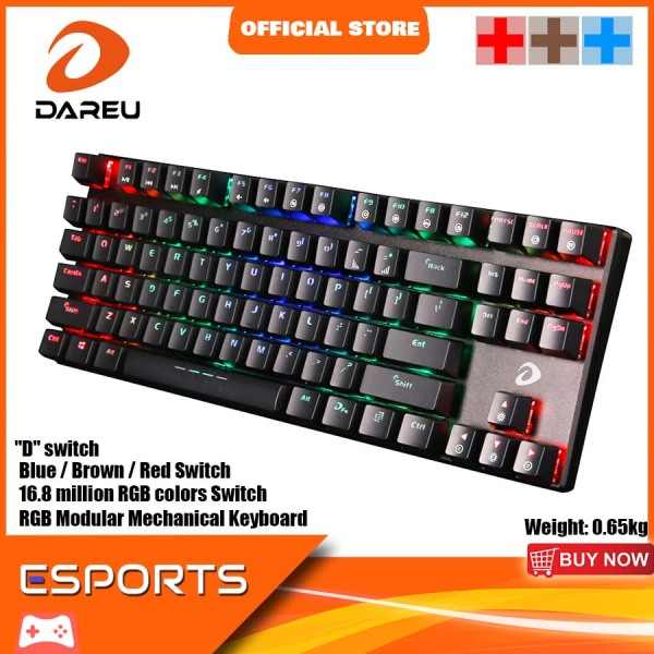 Dareu EK880 RGB 87 Key Mechanical Gaming Keyboard Blue / Brown / Red Switch Best for Gaming and Office Use Singapore Local Reseller, 1 Year 1 to 1 Exchange Warranty