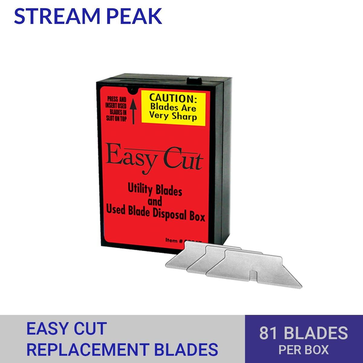 Easy Cut Safety Cutter Standard Replacement Blade, 81 Blades Inside Dispenser [ For Easy Cut 2000 & 4000, Durable, Long-Lasting ] Stream Peak