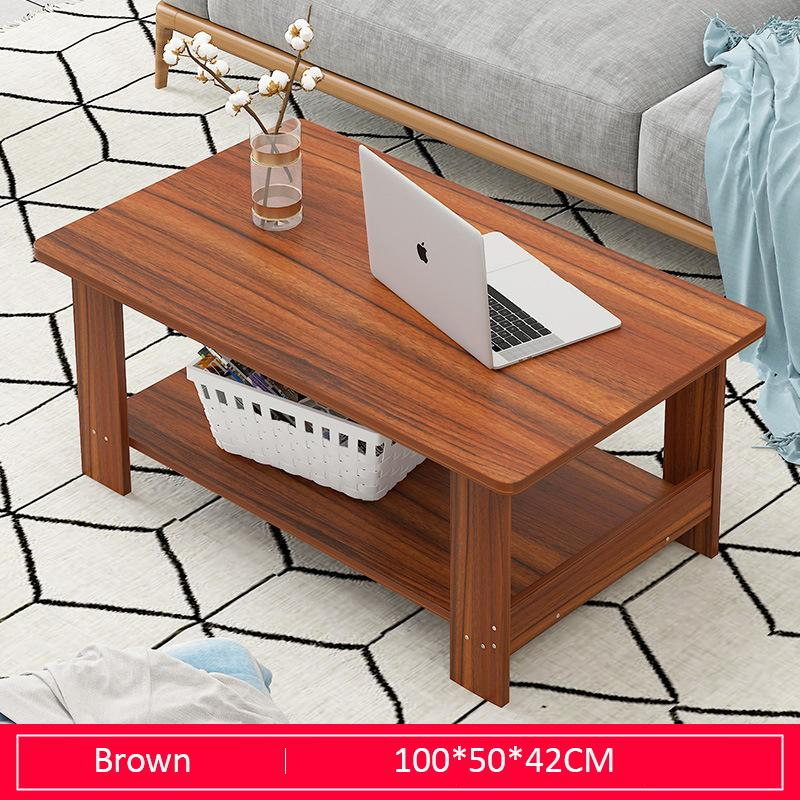 Brown Double-Tiers Wooden Coffee Table