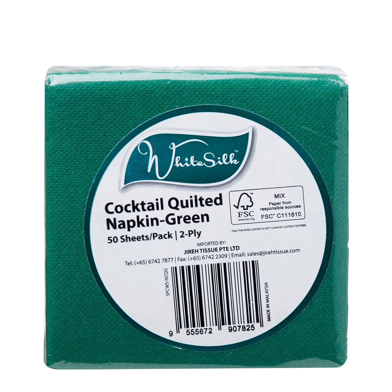 Whitesilk Green Quilted Cocktail Napkin