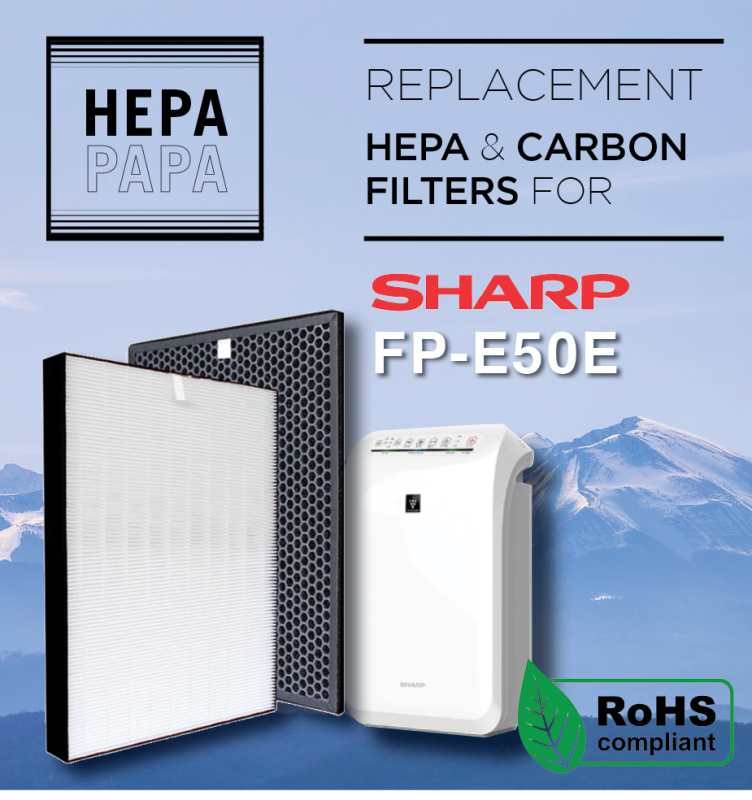 Sharp FP-E50E (FZ-E50HFE/FZ-E50DFE) Compatible Replacement HEPA and Carbon Filters [Free Alcohol Swab] [SG Seller] [7 Days Warranty] [HEPAPAPA] Singapore
