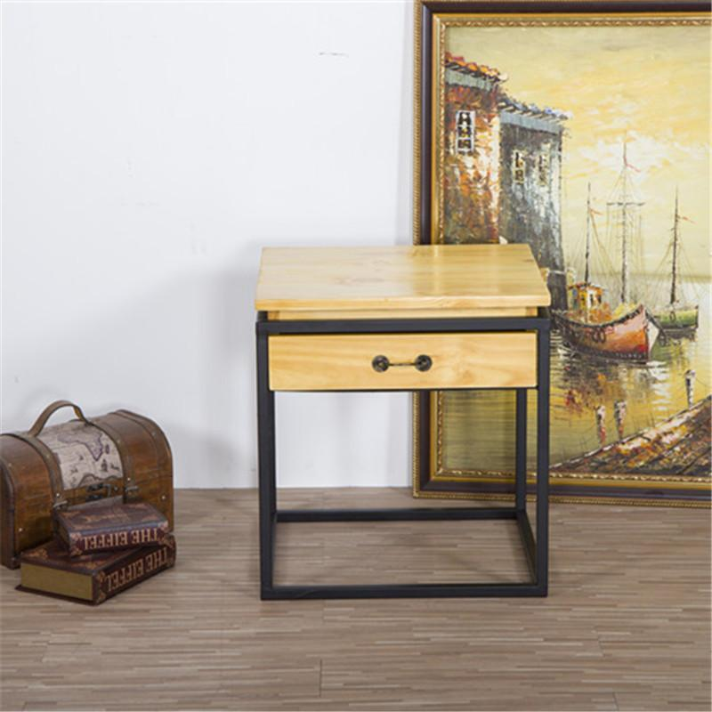 Furniture European Style Furniture Vintage Square Iron Art Bedside Table Simplicity Storage Cabinets Solid Wood Bedside Cabinet