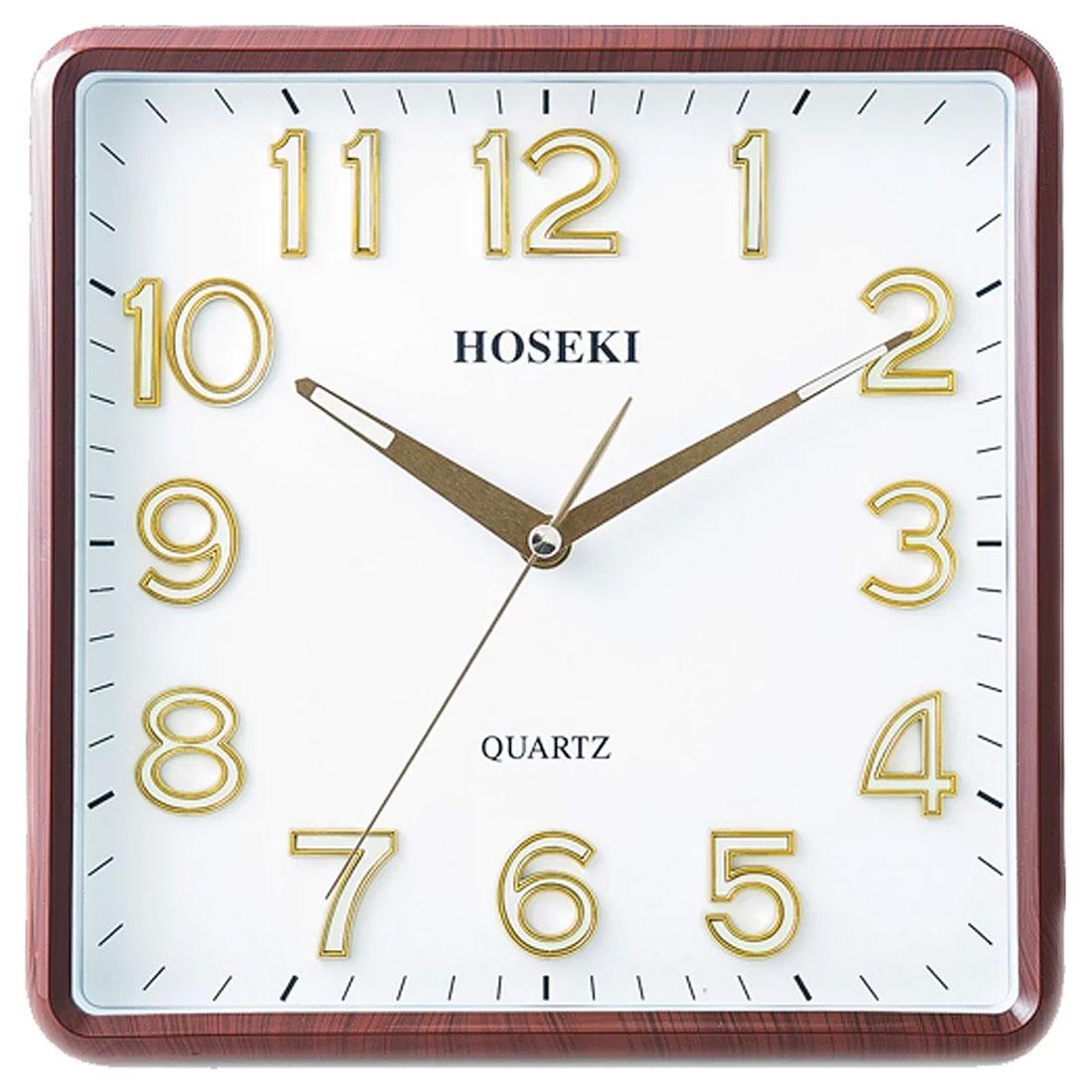 Hoseki Quartz H-9210BR H-9210 Brown Square Analog Wall Clock