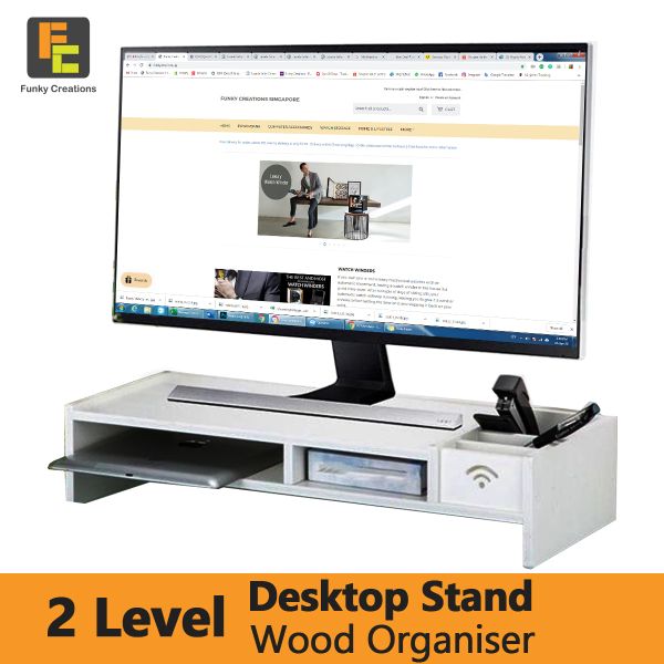 Monitor Stand 2 Level Wood with Storage