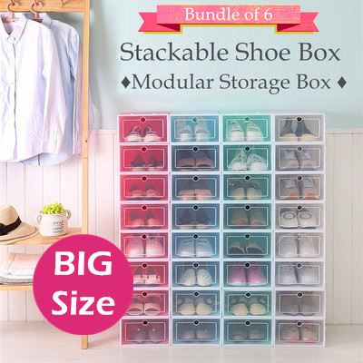 ♦ BIG SIZE 6 Boxes Sale ♦ Shoes Box Stackable Storage Rack Organiser ♦ Shoe Cabinet Drawer Shelf ♦