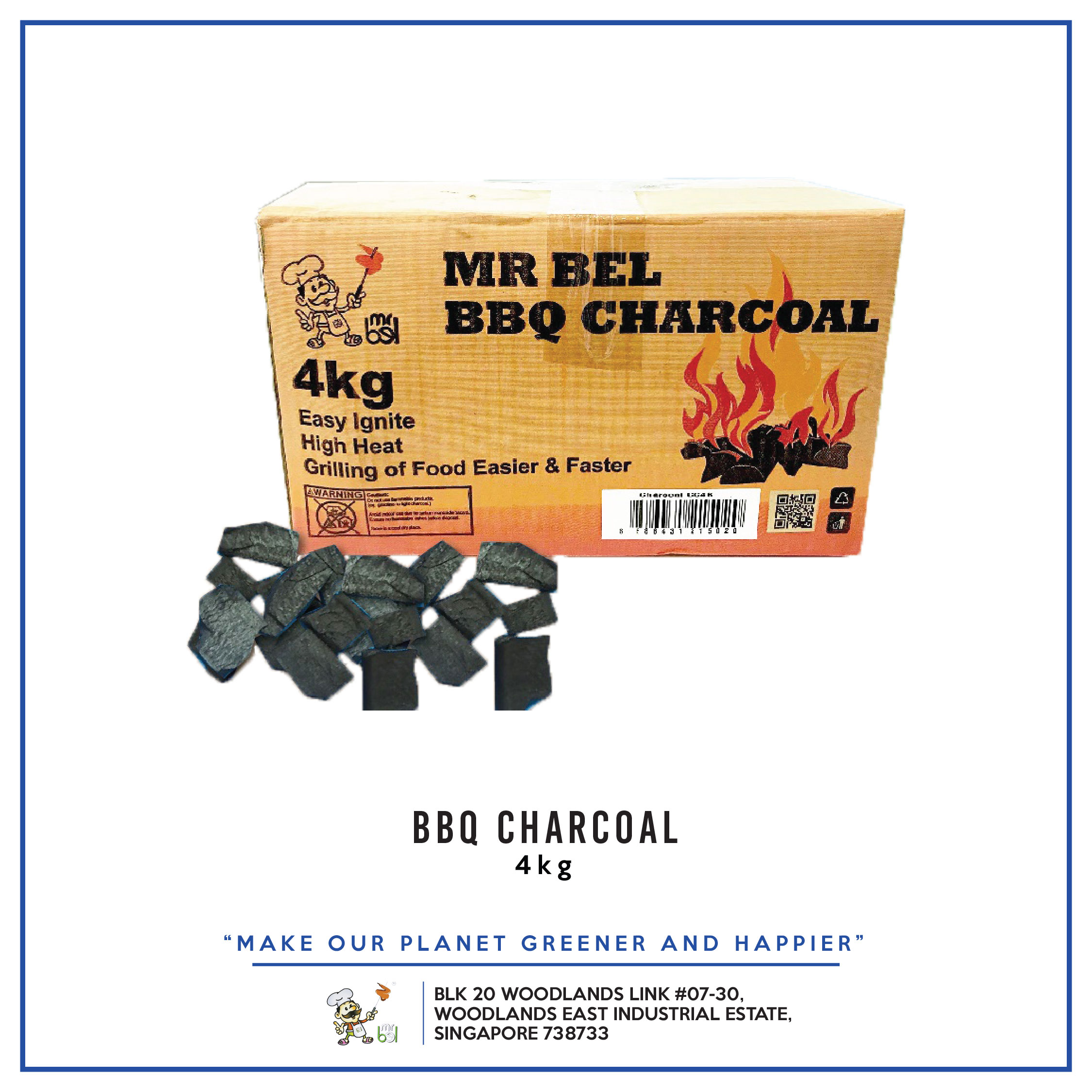 BBQ Charcoal 4KG per pack - 1 Carton (6packs)