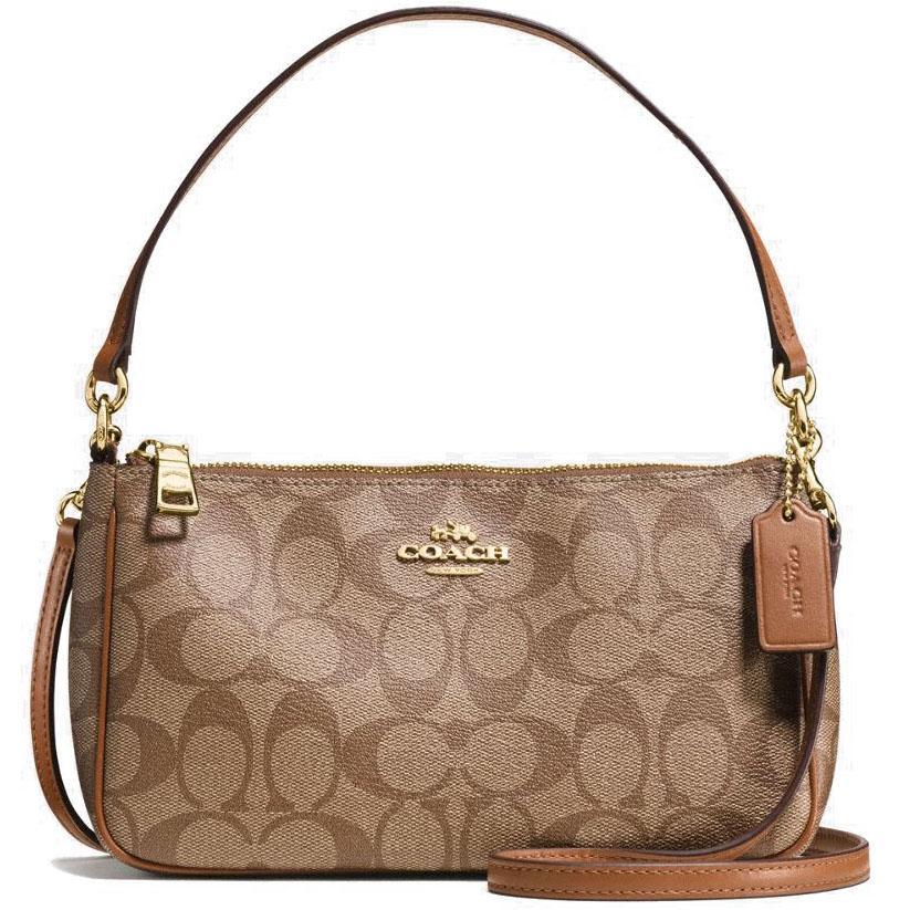Coach Messico Top Handle Pouch In Signature Crossbody Bag Handbag Saddle Brown / Khaki # F58321