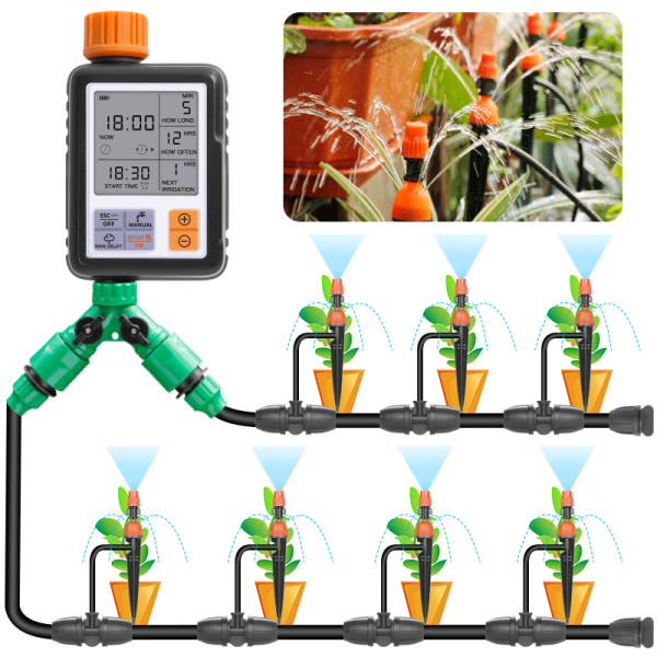 Outdoor DIY Plant Self Watering Complete System for Starter, Automatic Micro Dripper Irrigation Accessories Kit, Set Includes Waterproof Grade Auto Timer Control Device, Water Hose Tubing, Adjustable Flow Drip Emitters Dip Into Garden Pot Planter Soil