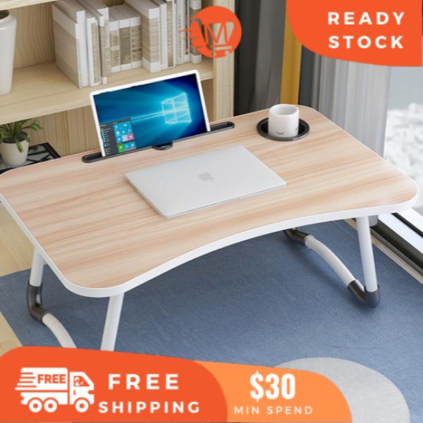 【Lowest Price】MixCart★Laptop Table★Bed Table★Foldable Wood Desk★Computer Table★Non-Slip★Ergonomic Anti-slip Table