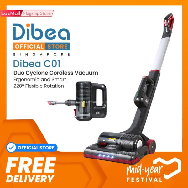 [Official Dibea Singapore] C01 Cordless Vacuum Cleaner Safety Mark Local Warranty Official Set  Ranked above Mop Xiaomi Ecovacs powerbank  Suitable for car dress cleaning Fast delivery  Ready Stocks Singapore