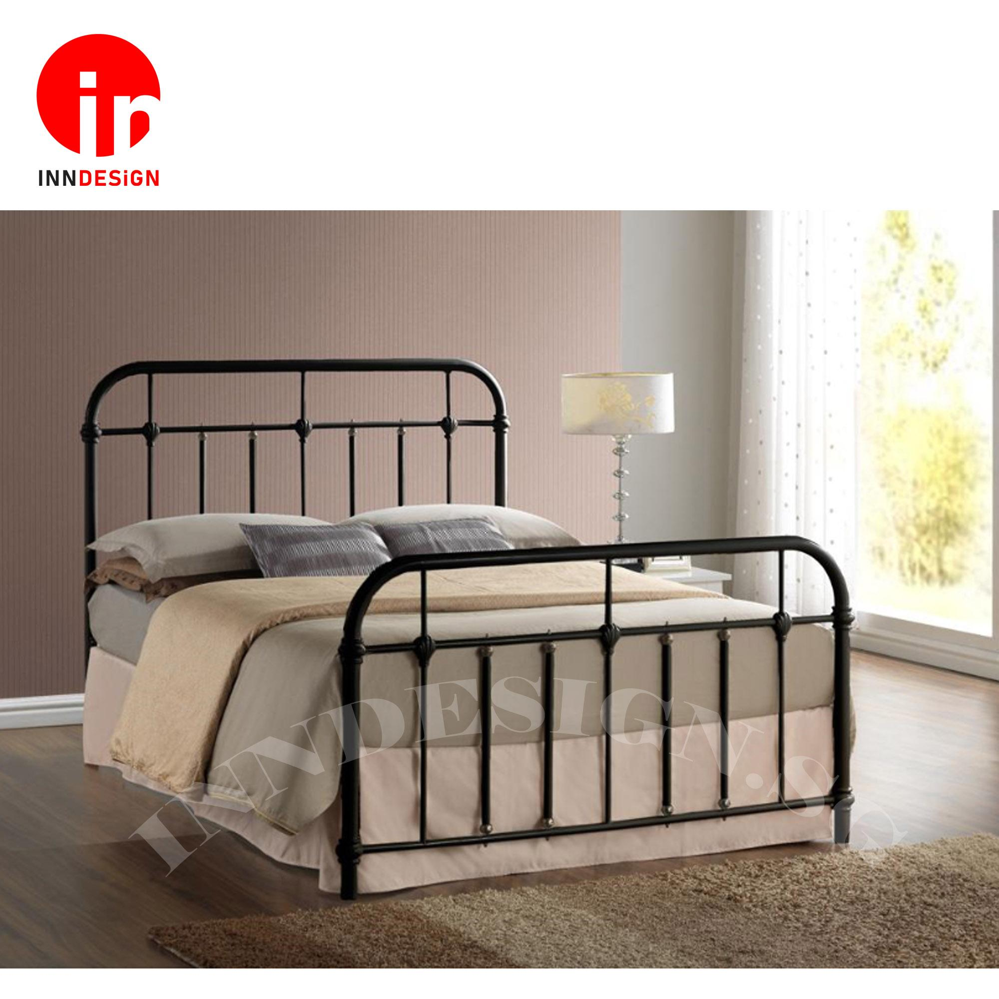 [1 Years Warranty] [FREE INSTALLATION] Ebie Queen Solid Metal Bed / Metal Bed Frame (Queen) (Black)