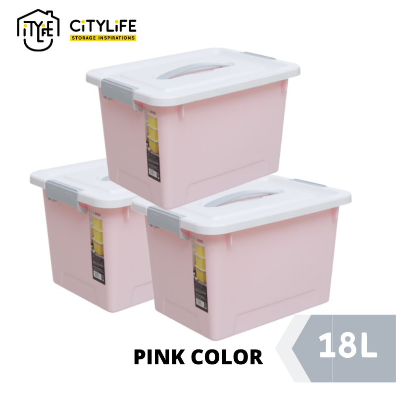 [Bundle Of 3] Citylife Storage Box with Retractable 18L - Sweet Pastel Colors