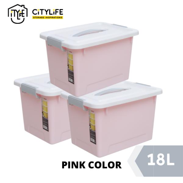 [Bundle Of 3] Citylife Storage Box with Retractable 18L - Sweet Pastel Colors