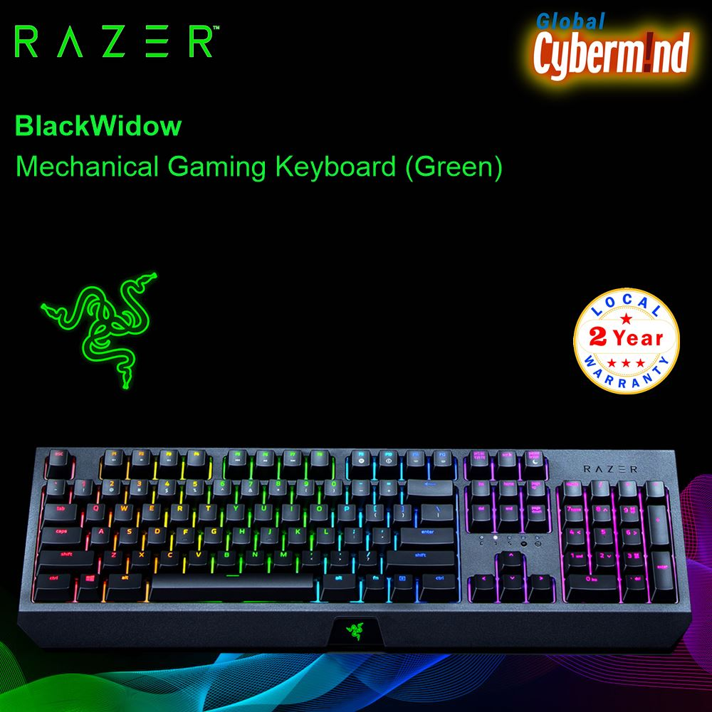 RAZER BLACKWIDOW Mechanical Gaming Keyboard(Green)  ( Brought to you by Cybermind ) Singapore
