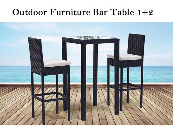 Outdoor Bar Table 1 Table + 2 Chairs with cushion (Free delivery and Installation)