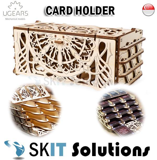 UGEARS Card Holder DIY Wooden Building Mechanical Model Gift Kit