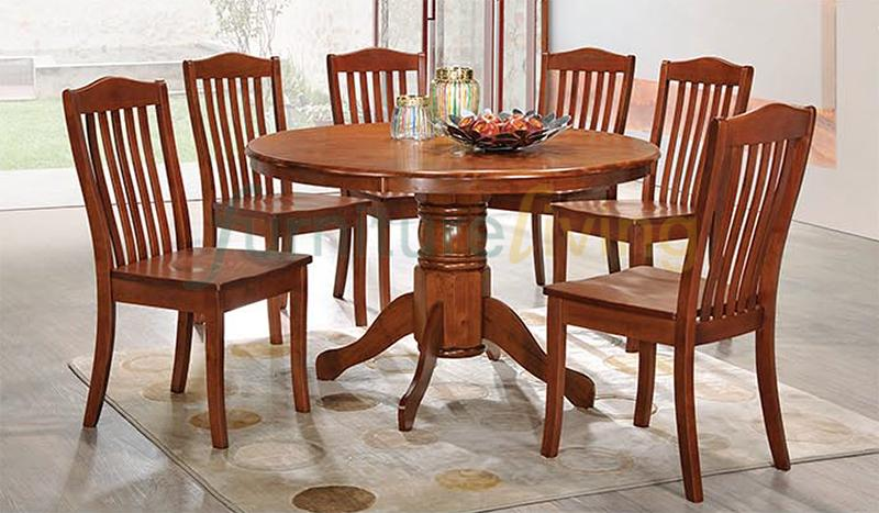 Furniture Living 1+6 Round Wooden Dining Set (Dirty Oak)