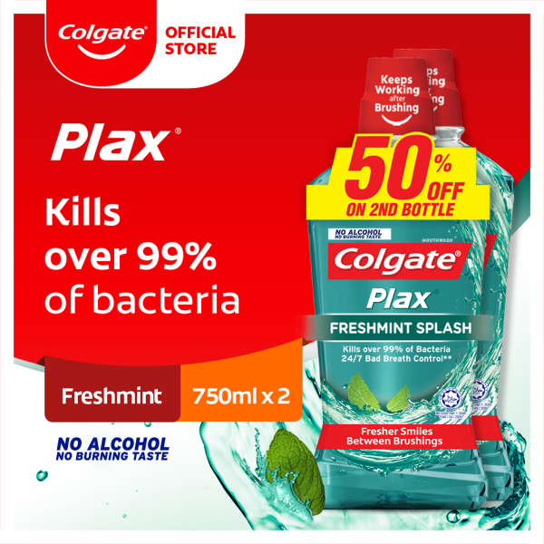 Buy [Kills over 99% of bacteria] Colgate Plax Freshmint Mouthwash Valuepack 750ml x 2 Singapore