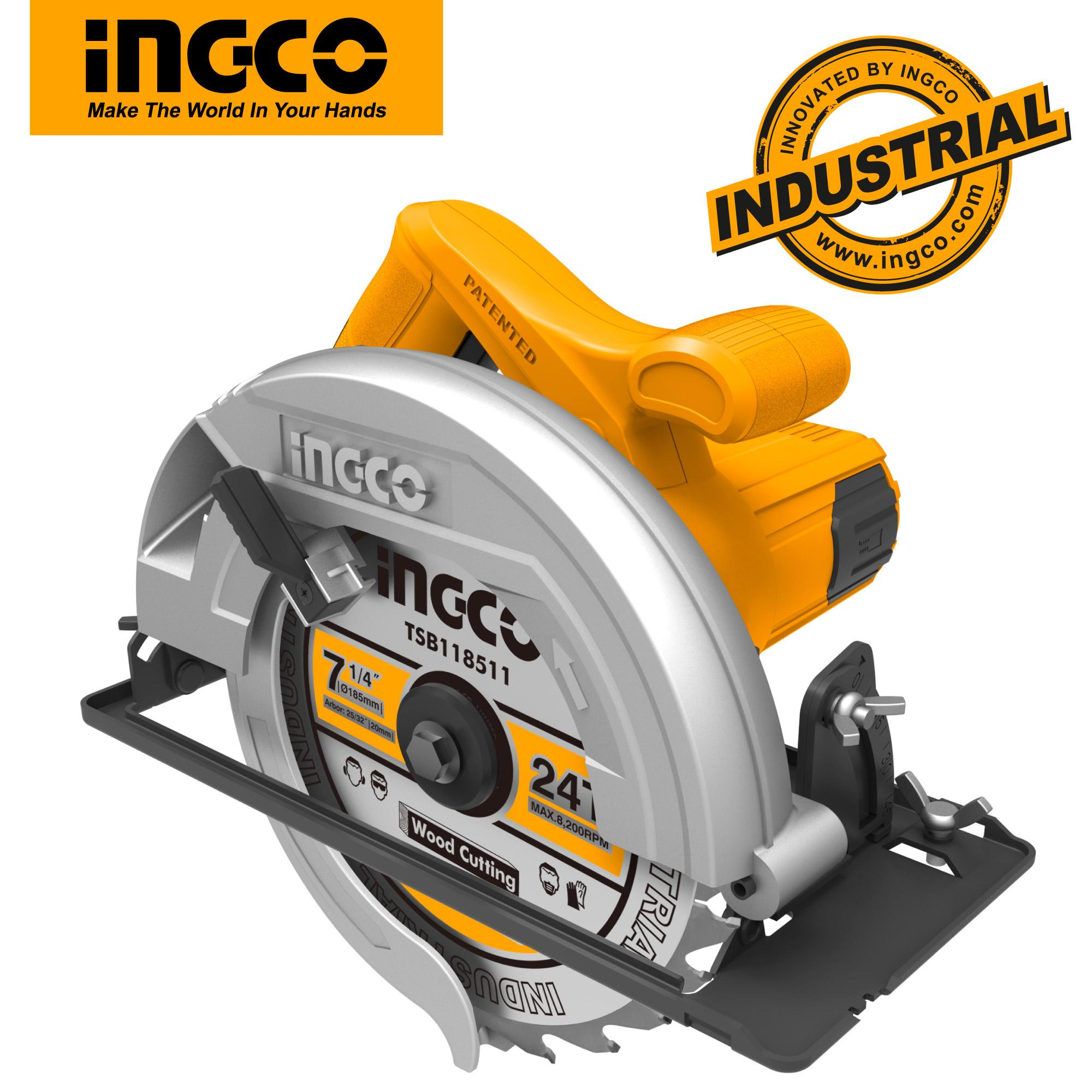 INGCO 1200W 5000rpm Circular Saw with Adjustable Cutting Depth and 1pcs Extra Carbon Brushes 185mm Blade CS18518