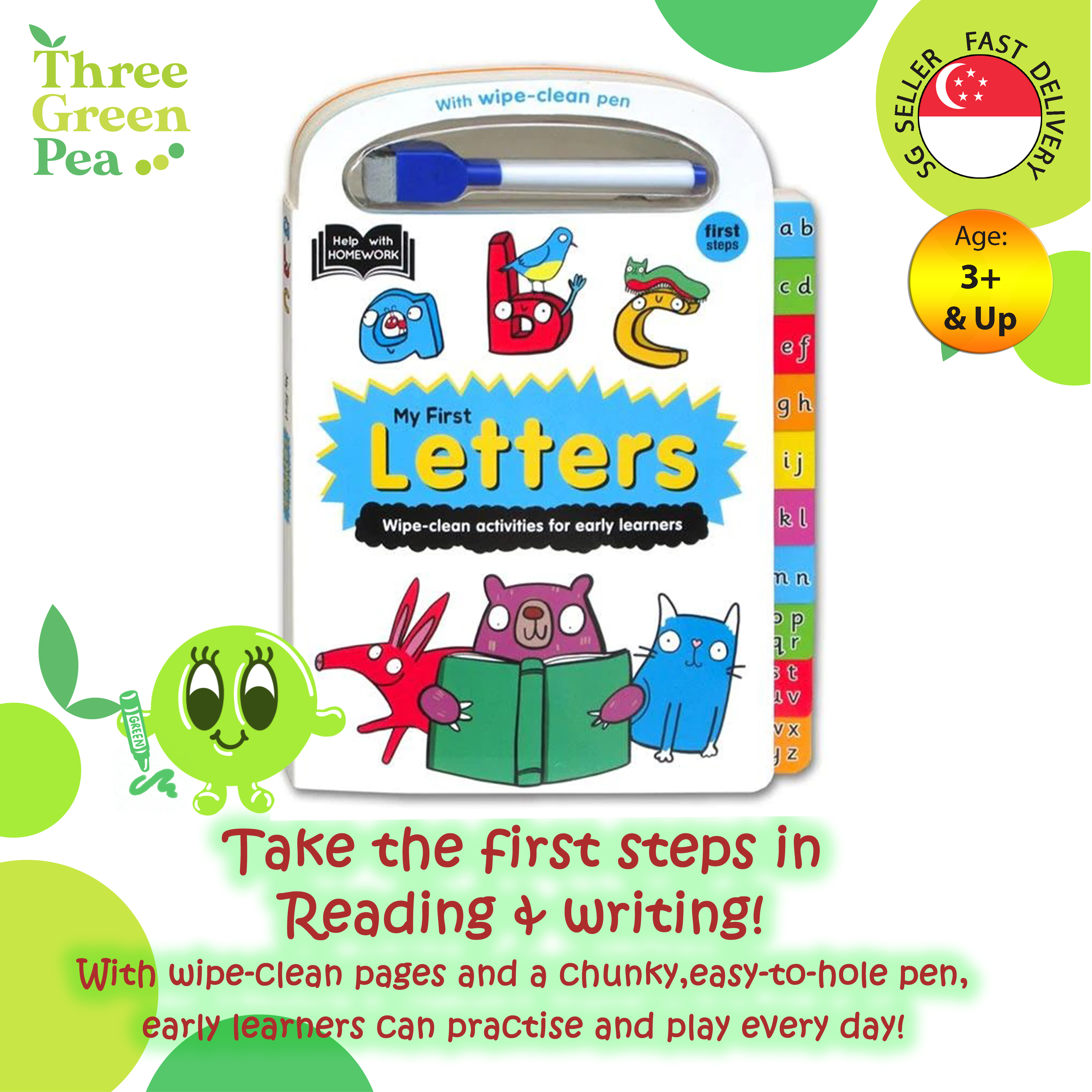 My First Letters - Tabbed Wipe Clean Activity Books For Age 3 and above Children Books 20 pages Board Book