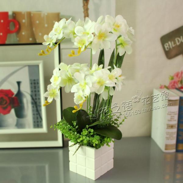 Butterfly Orchid Imitation Flowers Set Artificial Flowers Living Room Bedroom Floristry Furnishings Corsage Dried Flower Silk Flower with Vase