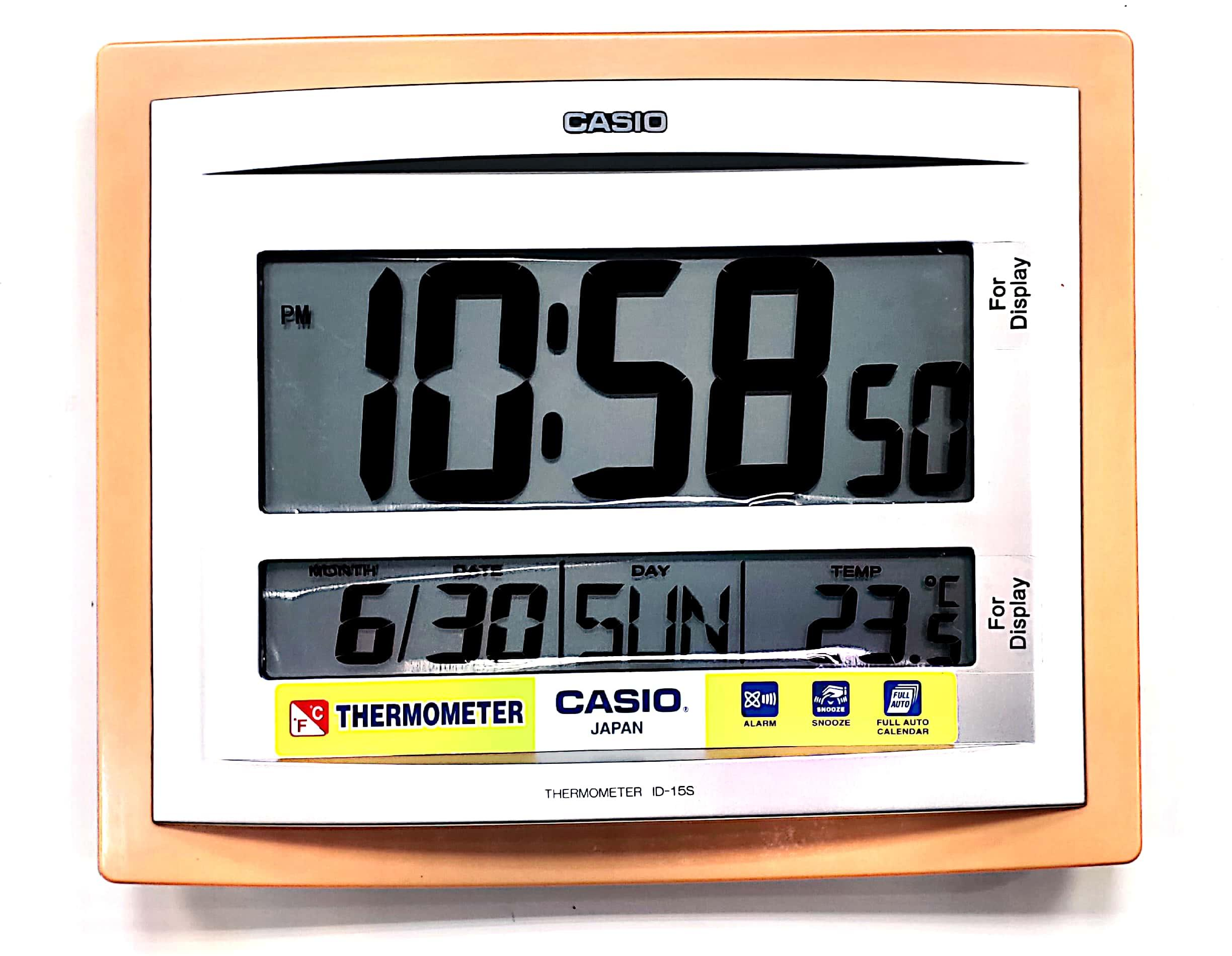 Casio Id-15s-5 Wall and Table Wood / brown Pattern Clock Temperature Digital Auto Calendar Thermo Large Wall Clock Limited Edition Battery Included