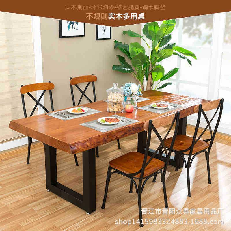 American Irregular Solid Wood Table Restaurant Rectangular Iron Art Table Hotel Simple Dining Tables And Chairs Set