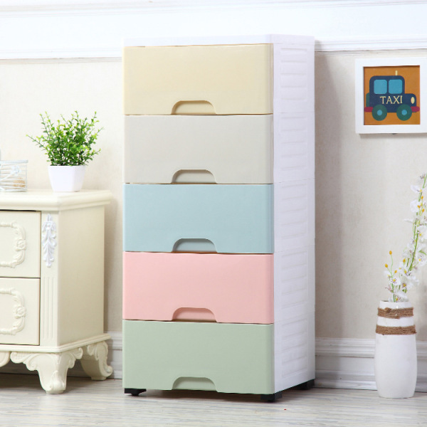Household five-layer cartoon thickened drawer storage cabinet rack wardrobe