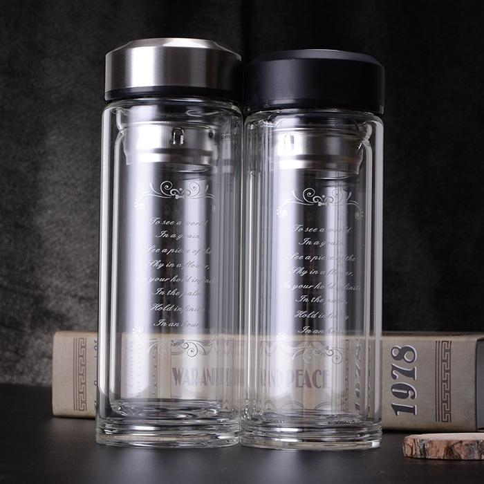 Glass Double Layer Insulated Filter Office Tea Cup Men And Women Portable  Water Glass Household Cup Customizable Printed Logo