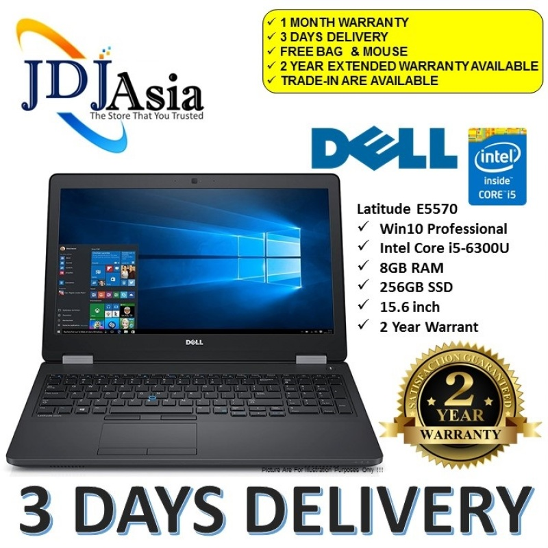 IMMEDIATE DELIVERY [Refurbished] Latitude 15 E5570 Core i5 Business Laptop Notebook Core i5-6300U X2 2.4GHZ / 8GB DDr4 / 256GB SSD / Win10 Pro 64Bit [Extended Warranty Up to 24 Months]