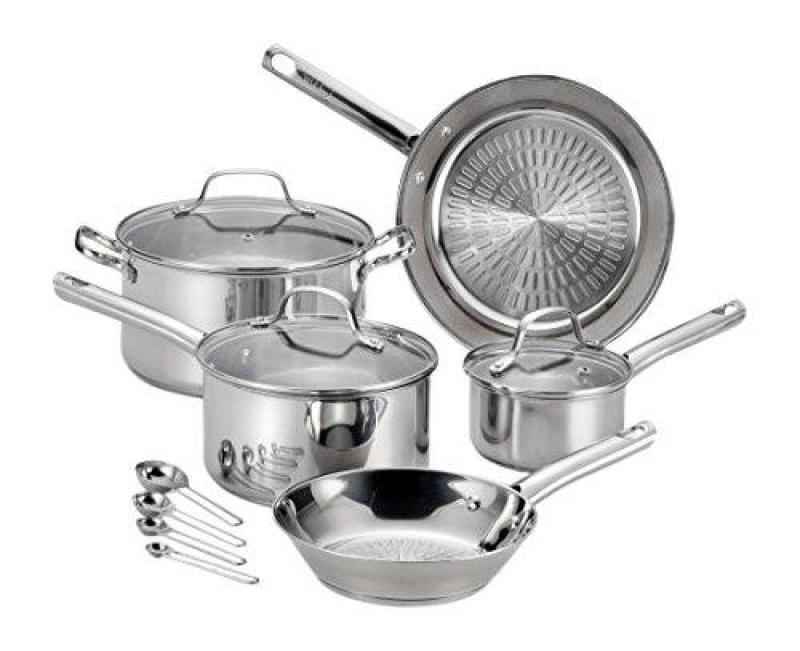 T-fal Performa Pro Stainless Steel Dishwasher Oven Safe Cookware Set, 12pc, Silver(Preoder - Will arrive in 7-12 working days) (SG Seller) Singapore