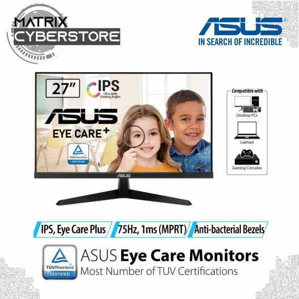 ASUS VY249HE Eye Care Monitor – 23.8 inch FHD (1920 x 1080), IPS, 75Hz, IPS, 1ms (MPRT), FreeSync™, Eye Care Plus technology, Color Augmentation, Rest Reminder, Blue Light Filter, Flicker Free, antibacterial treatment