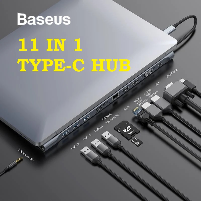 Baseus 11 in 1 Type-C USB-C Hub to HDMI VGA USB 3.0 Audio Memory Card RJ45 Macbook Notebook Computer