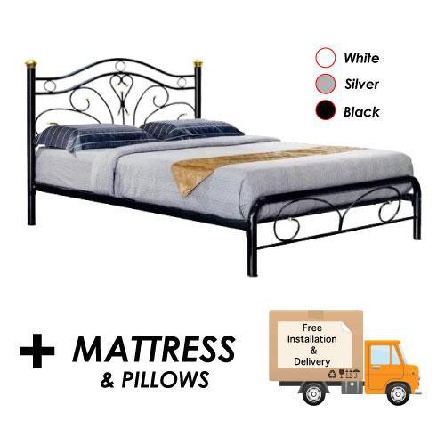 [Furniture Amart]  Black Diana Metal Queen Bed Frame + Mattress Set Package (Free pillow)