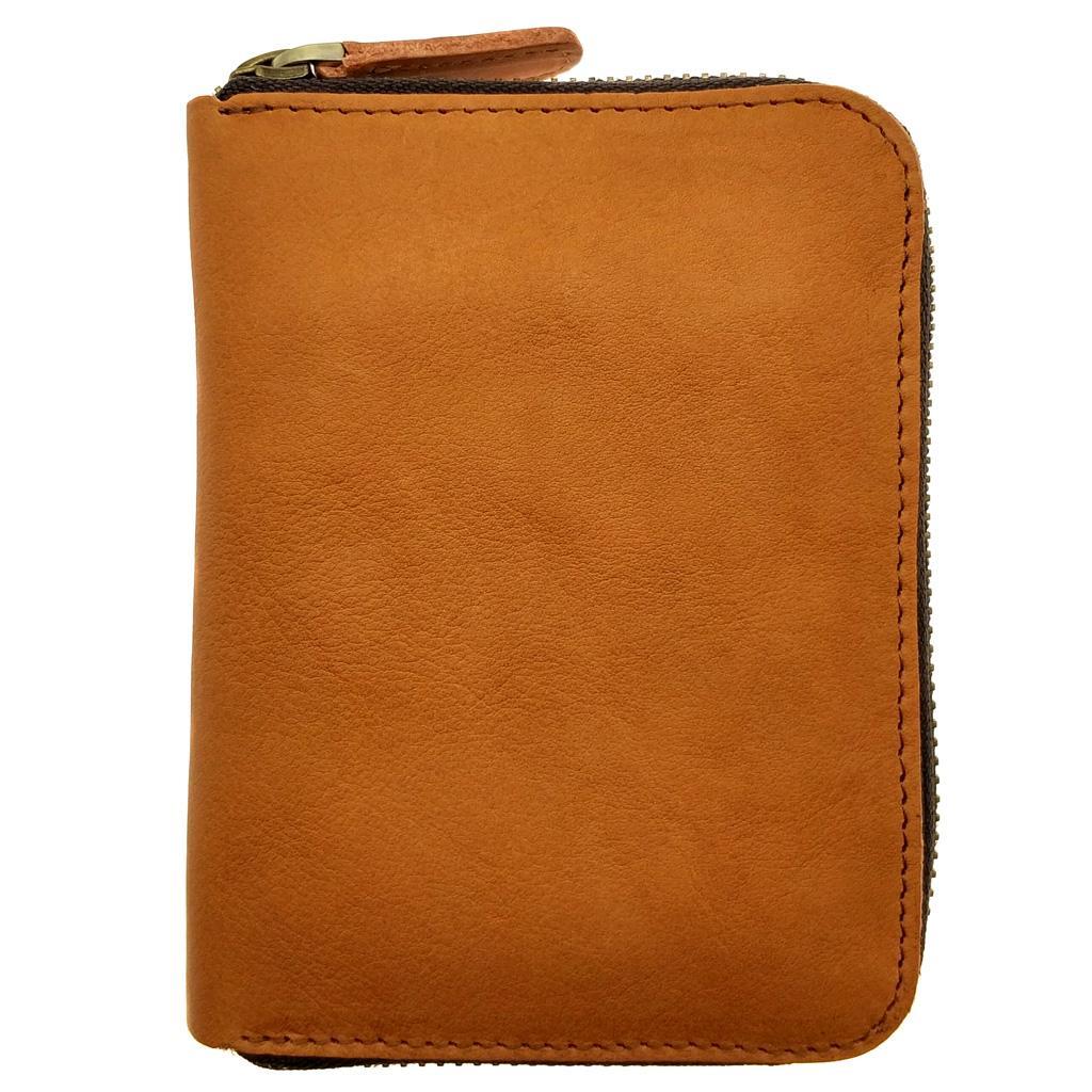 Singapore The Ninja Co. Full Grain Natural Leather Billfold Zipper Card Wallet Money Holder Purse Men Women Birthday Gift Present Orange Brown SG