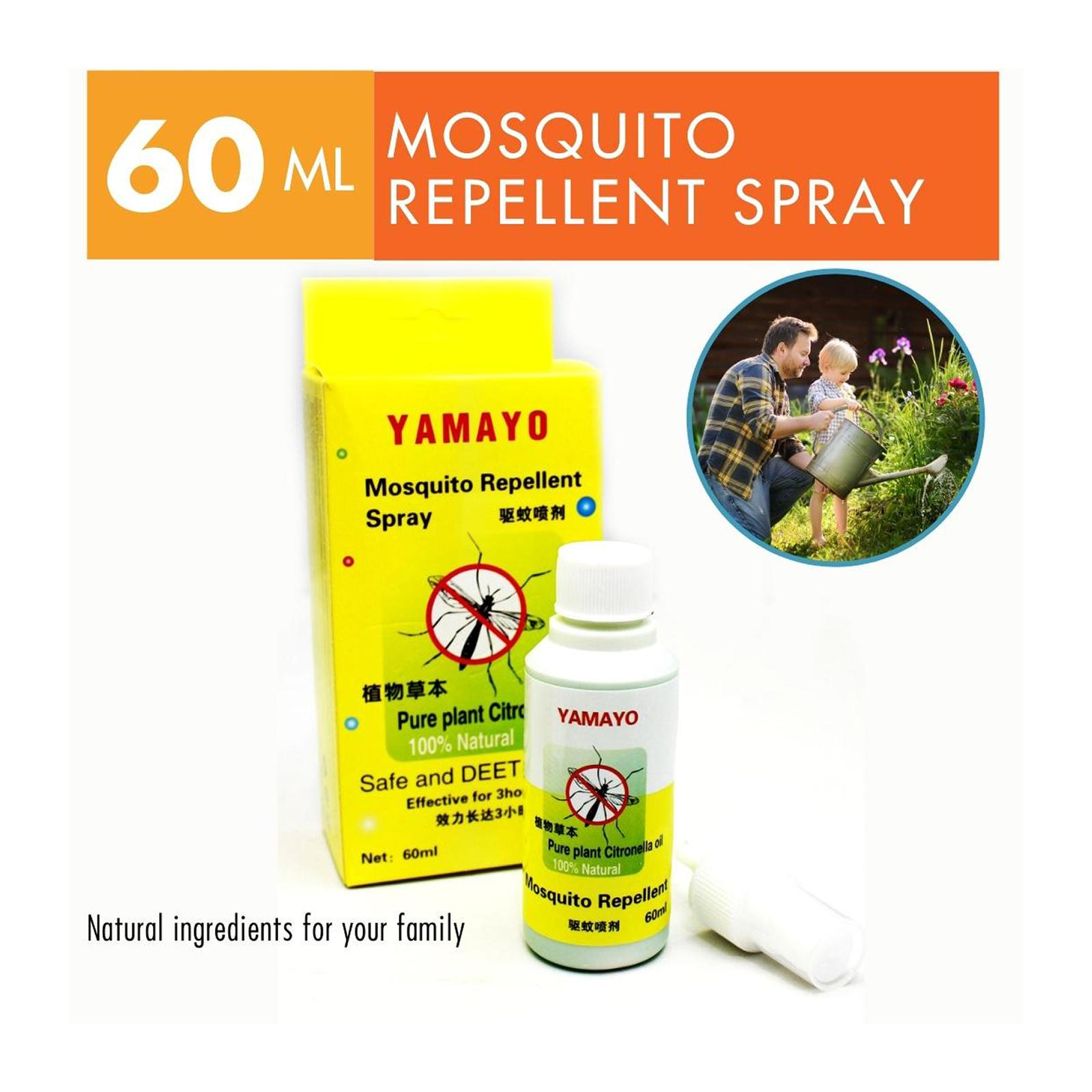 Yamayo Natural Mosquito Repellent Spray 60 ML with Citronella oil and Deet Free