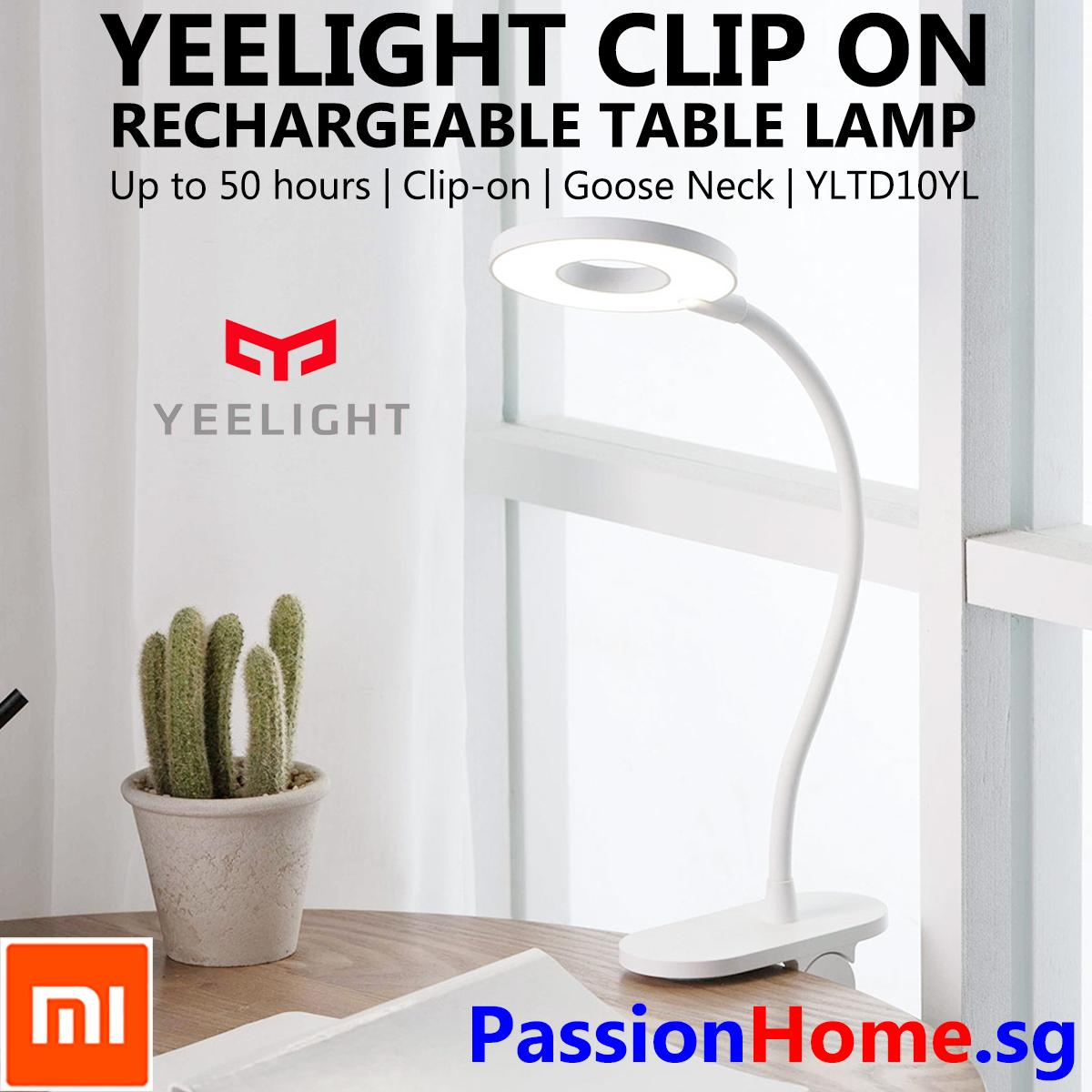 Xiaomi Yeelight LED Rechargeable Table Clip On Lamp 2019 - White Desk Clamp Lights 5W 100 lumens - Three Modes Reading Work Lighting Study Night USB Flexible Touch Sensor Button Long Battery Life Portable Light - Kids Room Bedroom YLTD10YL PassionHome.sg